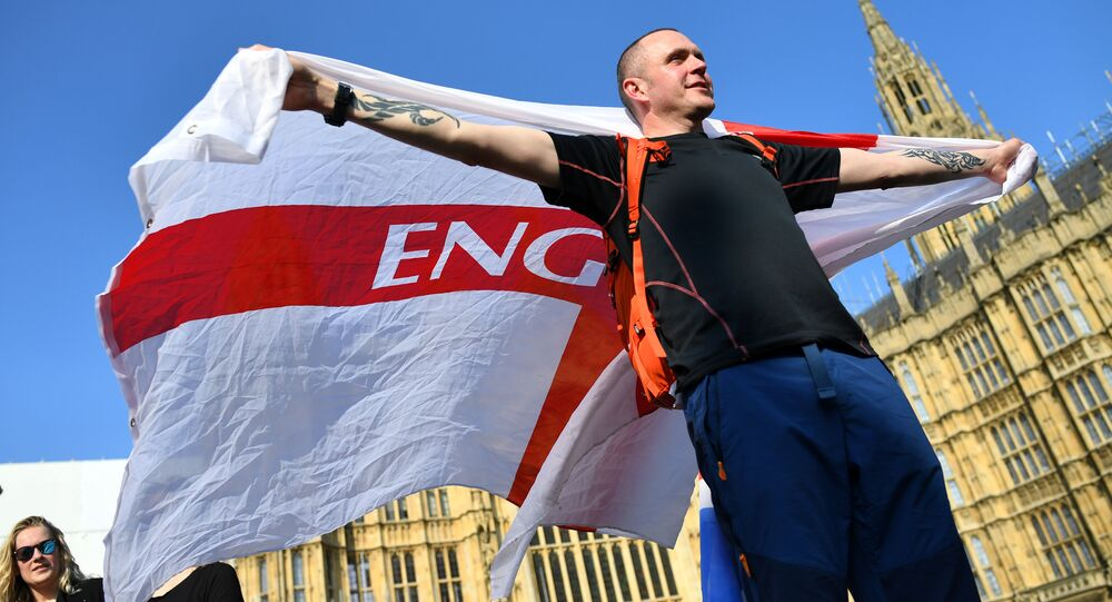 A Pro-Brexit protester demonstrates outside the Houses of Parliament in London, Britain, March 29, 2019.