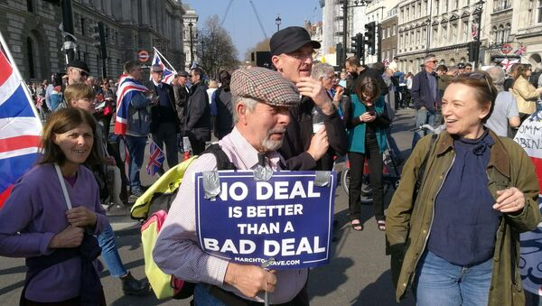 Protesters rally against delay of the Brexit process in London, UK on 29 March 2019 - Sputnik International