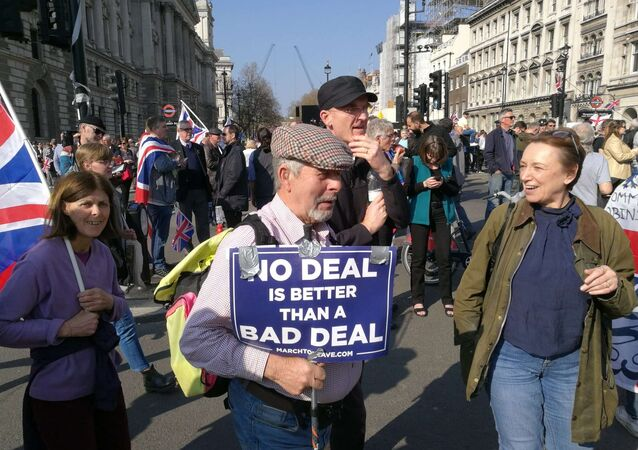 Protesters rally against delay of the Brexit process in London, the United Kingdom on 29 March, 2019