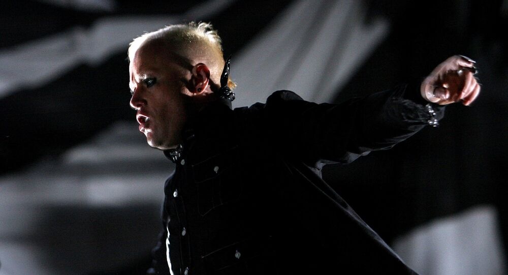 British singer Keith Flint of techno group The Prodigy