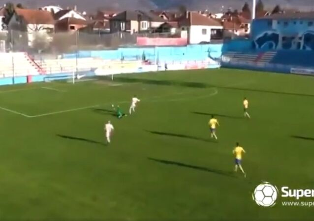 Nikola Peric of Dinamo Vranje with one of the greatest goalkeeping errors in the history of football