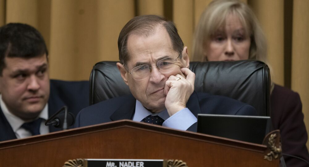 Judiciary Committee Chairman Jerrold Nadler, D-N.Y., questions Acting Attorney General Matthew Whitaker on Capitol Hill in Washington, Friday, Feb. 8, 2019.