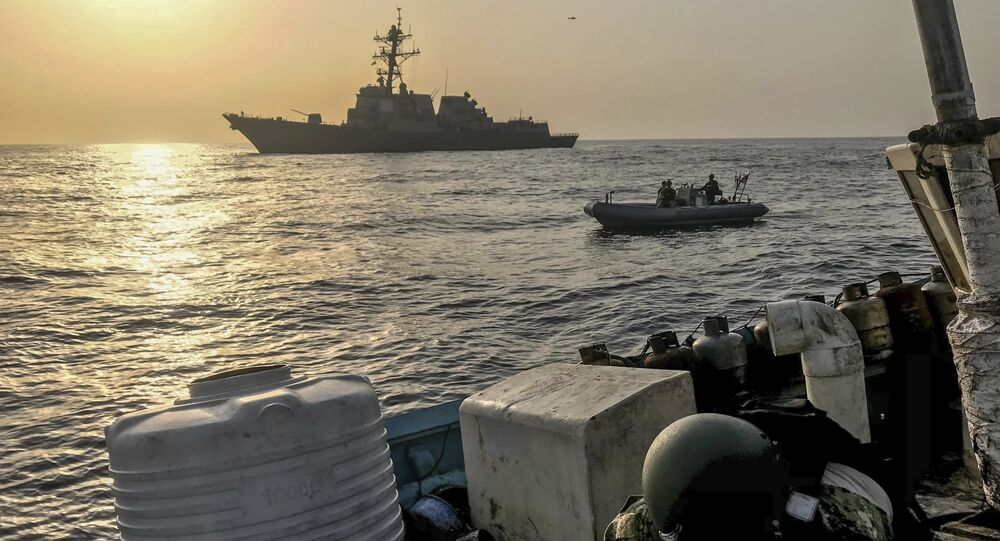 Aug. 30, 2018, a team from the guided-missile destroyer USS Jason Dunham inspects a dhow while conducting maritime security operations