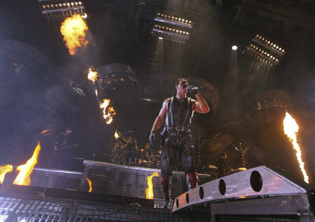 Till Lindemann of Rammstein performs in Moscow's Olympiisky concert hall, Sunday Feb. 28, 2010.