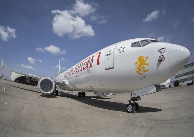 An Ethiopian Airlines Boeing 737 Max 8 sits grounded at Bole International Airport in Addis Ababa, Ethiopia 23 March  2019