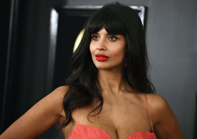 Jameela Jamil arrives at the 61st annual Grammy Awards at the Staples Center on Sunday, Feb. 10, 2019, in Los Angeles