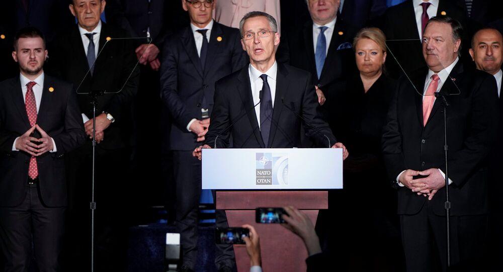 NATO Secretary General Jens Stoltenberg speaks at a reception to celebrate NATO's 70th anniversary in Washington, U.S., April 3, 2019