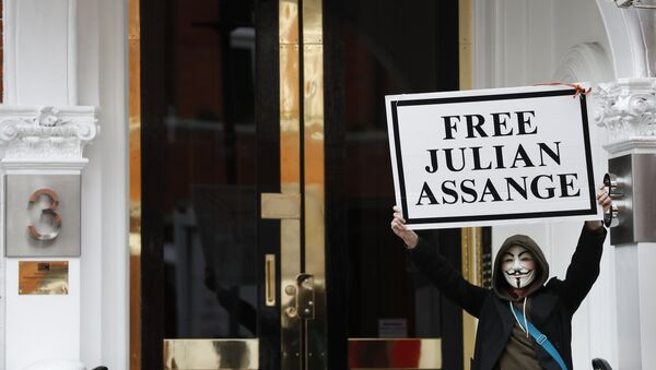 A demonstrator holds up a 'Free Assange' placard outside the front entrance of the Ecuadorian Embassy where Wikileaks founder Julian Assange has been holed out since 2012, in London, Friday, April 5, 2019 - Sputnik International