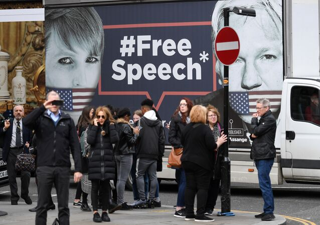 Supporters of WikiLeaks founder Julian Assange gather outside the Ecuadorian Embassy in London on April 5, 2019