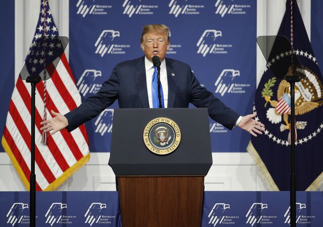 President Donald Trump speaks at an annual meeting of the Republican Jewish Coalition, Saturday, April 6, 2019, in Las Vegas.