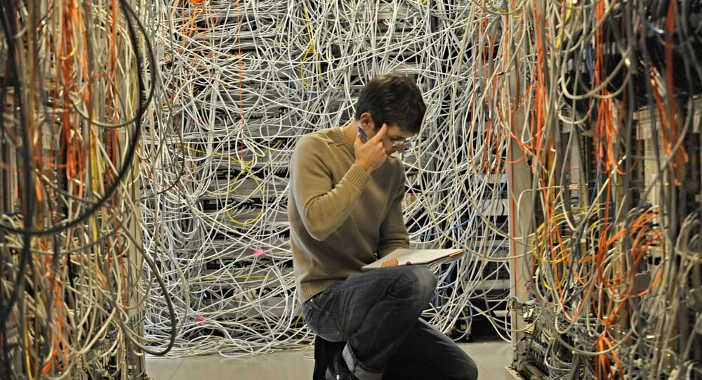 engineer checks network telecommunication cables