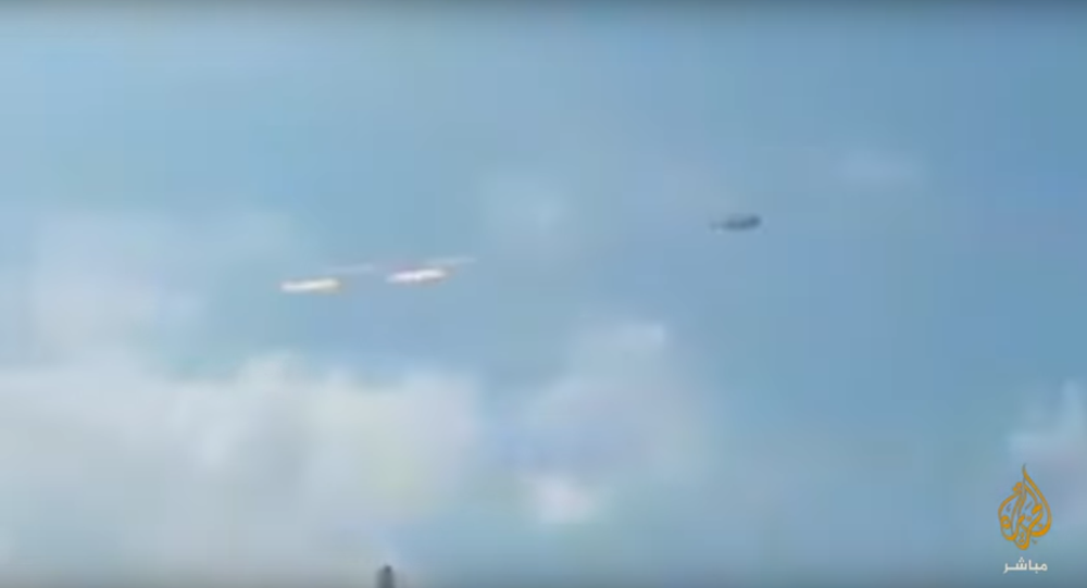A still from an alleged video of LNA airstrike against Mitiga airport in Tripoli