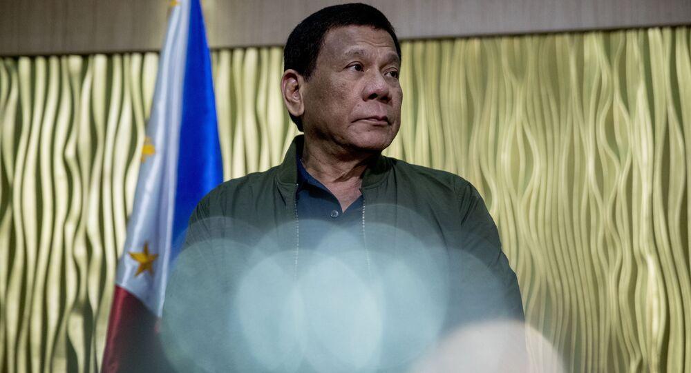 Philippines President Rodrigo Duterte arrives to greet Secretary of State Mike Pompeo at Colonel Jesus Villamor Airbase in Manila, Philippines, Thursday, Feb. 28, 2019