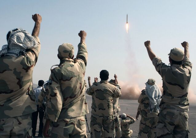 IRGC celebrating missile launch