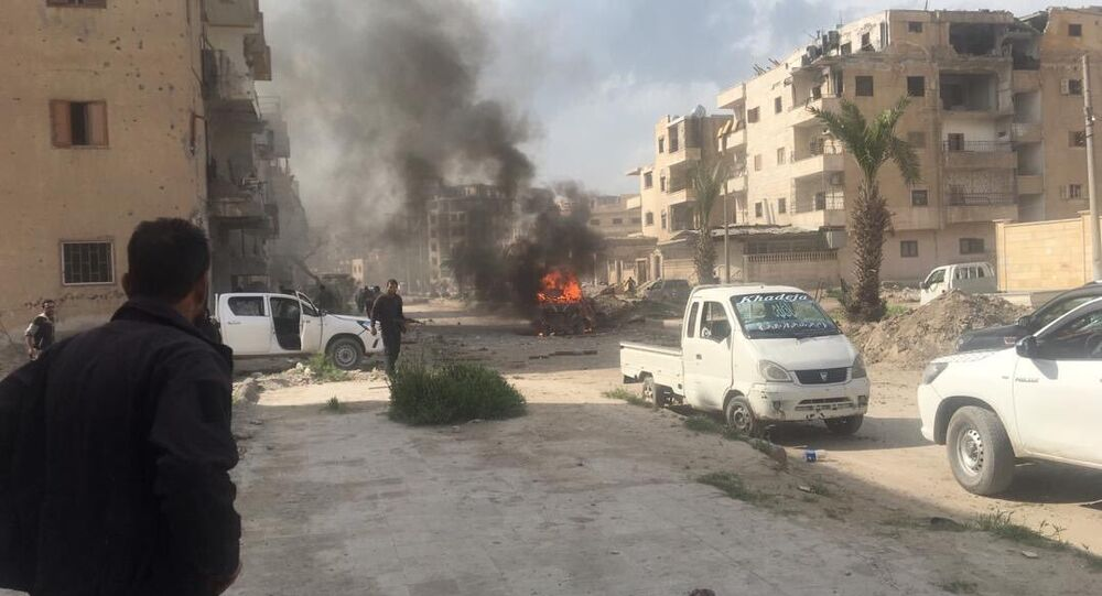 Car bomb that exploded just in al-Nour Street of Raqqa