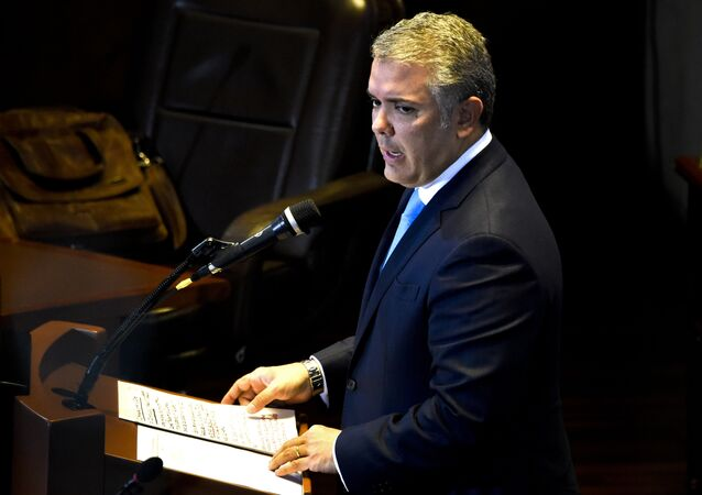 Colombian President Ivan Duque speaks during a hearing at the Supreme Court in Bogota on March 7, 2019