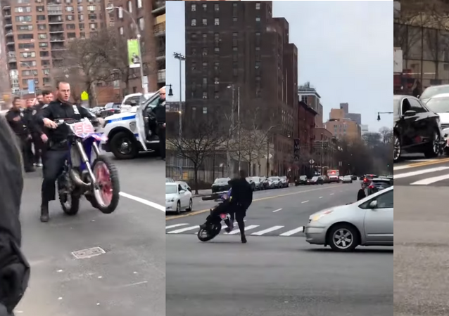 No Helmet in Harlem: US Cop Runs Red Light, Crashes Confiscated Dirt Bike