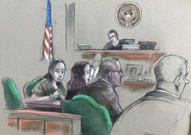 In this artist sketch, a Chinese woman, Yujing Zhang, left, listens to a hearing Monday, April 8, 2019, before federal Magistrate Judge William Matthewman in West Palm Beach, Fla. Secret Service agents arrested the 32-year-old woman March 30 after they say she gained admission by falsely telling a checkpoint she was a member and was going to swim.