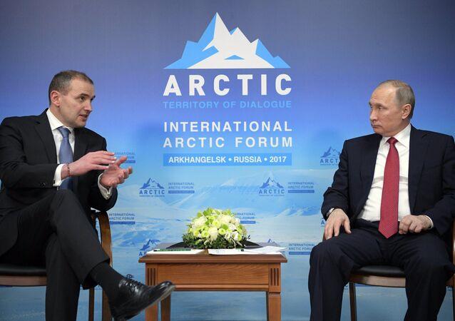 Russian President Vladimir Putin with Iceland's President Gudni Thorlacius Johannesson, 30 March 2017