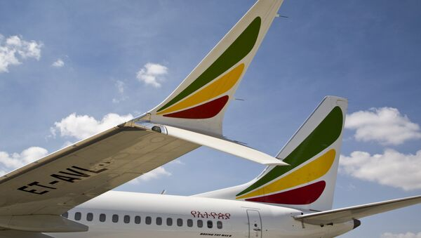 The winglet of an Ethiopian Airlines Boeing 737 Max 8 is seen as it sits grounded at Bole International Airport in Addis Ababa, Ethiopia Saturday, March 23, 2019 - Sputnik International
