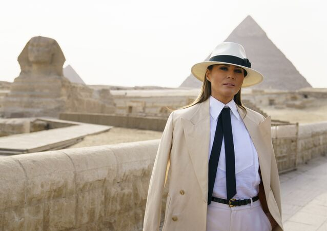 First lady Melania Trump pauses as she speaks to media as she visits the historic site of Giza Pyramids in Giza, near Cairo, Egypt, Saturday, Oct. 6, 2018