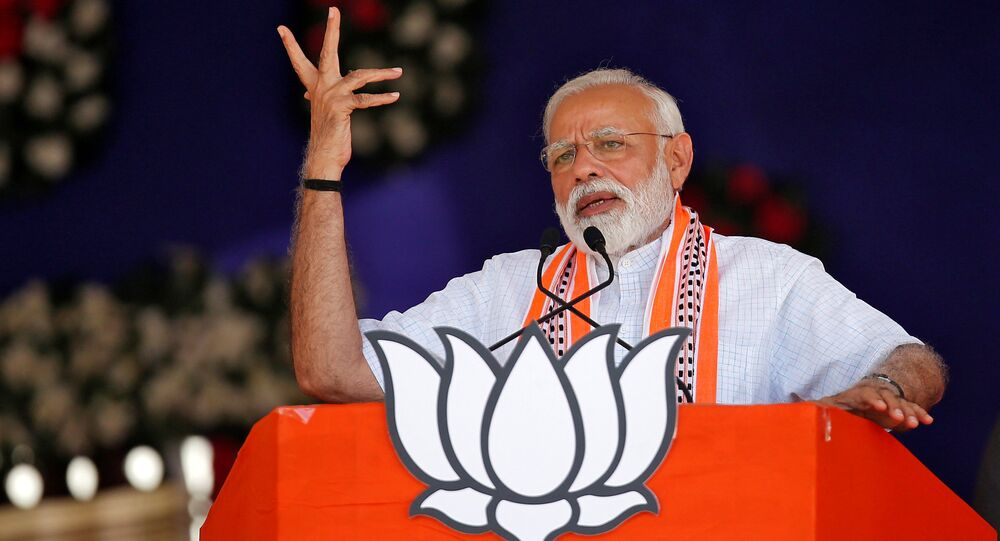 India's Prime Minister Narendra Modi addresses an election campaign rally in Junagadh, Gujarat, India, April 10, 2019