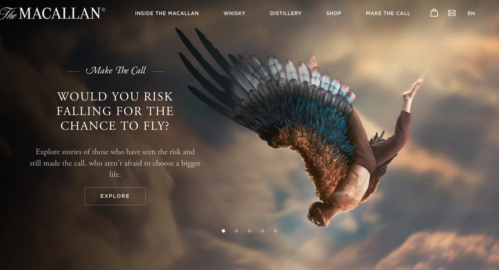 A screen grab of The Macallan's advert featured on the company's website.
