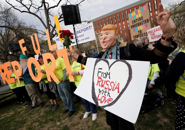 Activists hold a rally in front of the White House in Washington to call on Attorney General William Barr to immediately release Special Counsel Robert Mueller's report, U.S., April 4, 2019