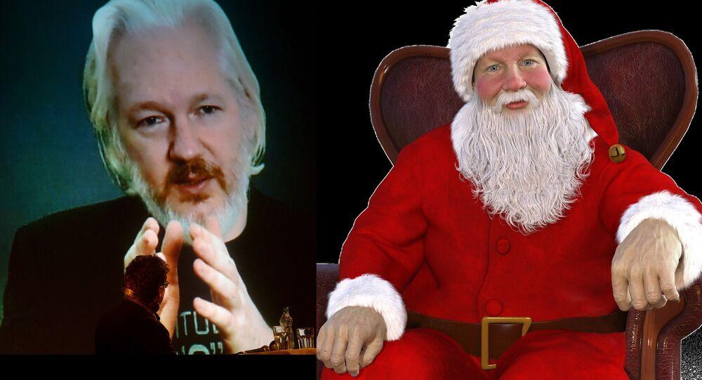 Julian Assange (L), Santa Claus (R)