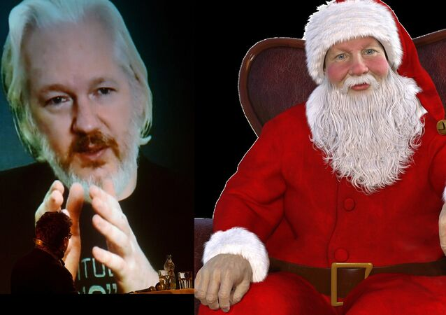 Julian Assange (L), Santa Claus (R)