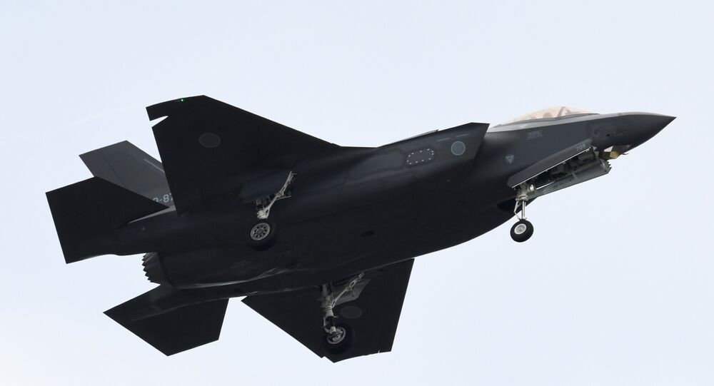 An F-35 fighter aircraft of the Japan Air Self-Defense Force