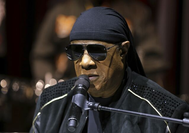 Stevie Wonder performs live at the House Full of Toys 22nd Annual Benefit Concert press conference on Tuesday, Nov. 27, 2018, in Los Angeles.