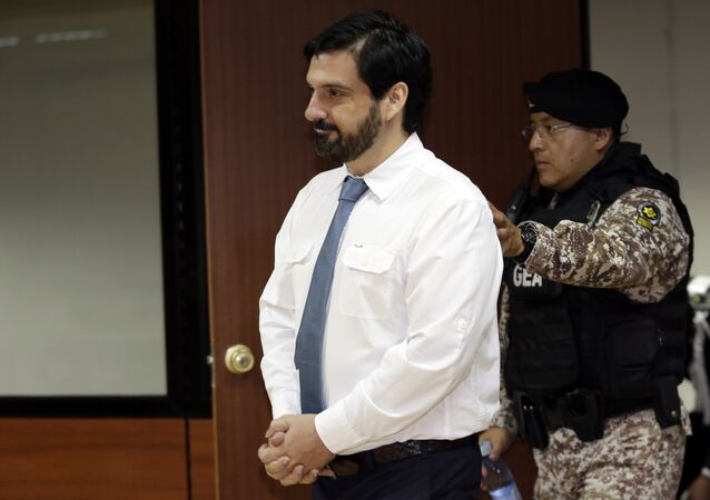 United States citizen Paul Ceglia arrives at court to file an appeal against his extradition, filed against him by the United States, in Quito, Ecuador, Wednesday, Sept. 26, 2018