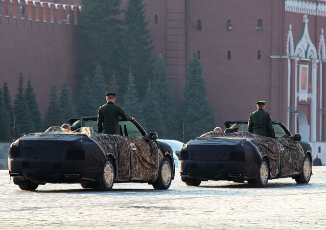 Cabriolets of Aurus passed on Red Square