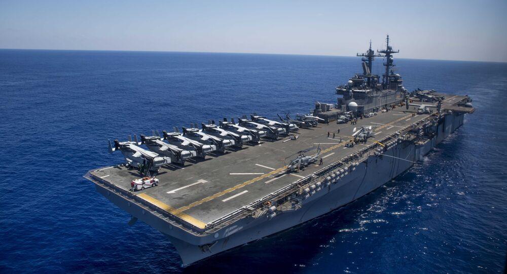 The amphibious assault ship USS Wasp (LHD 1)