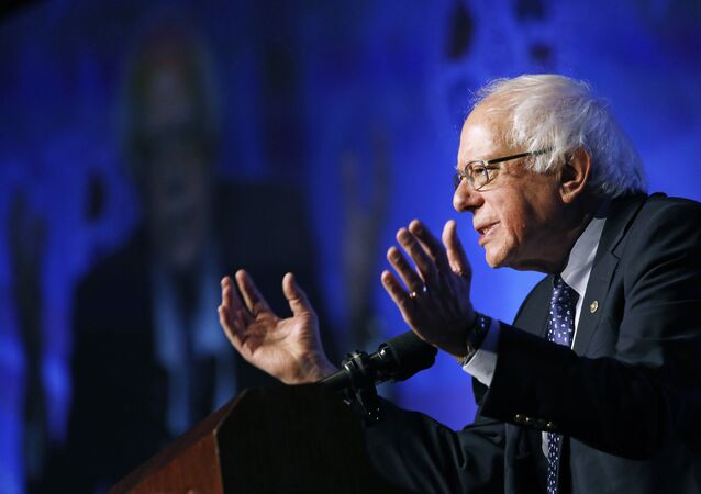 Democratic presidential candidate Sen. Bernie Sanders, I-Vt., speaks at a convention of the International Association of Machinists and Aerospace Workers April 8, 2019