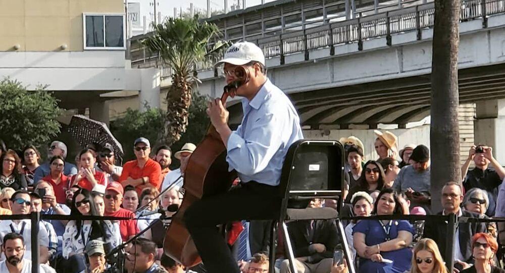 Cellist Yo-Yo Ma plays Bach's Suite No. 1 for Unaccompanied Cello in Laredo, US