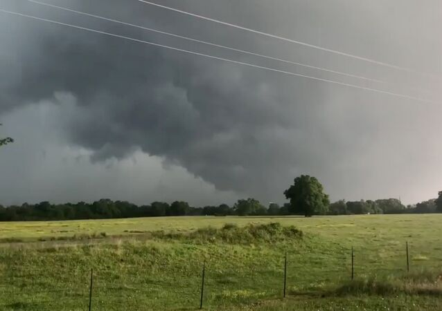 A view of clouds, part of a weather system seen from near Franklin, Texas
