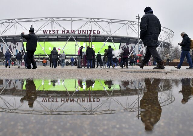 West Ham United fans outside the ground before their English Premier League soccer match