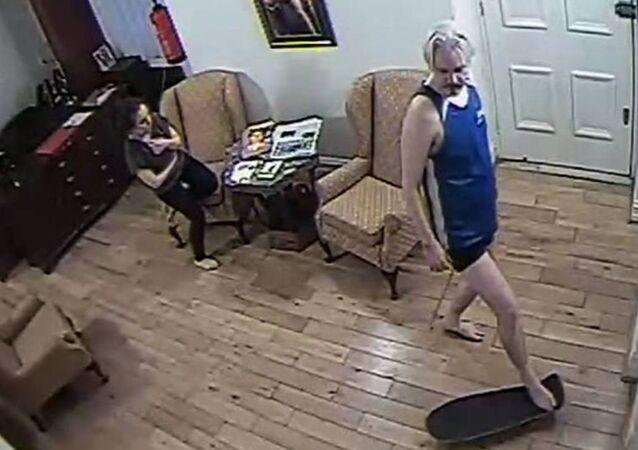 Assange SKATEBOARDING in Ecuadorean Embassy