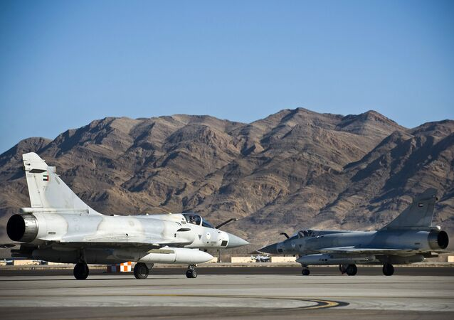United Arab Emirates Air Force Dassault Mirage 2000-9s taxi to the active runway at Nellis AFB