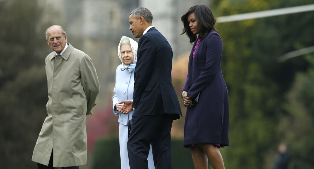 President Barack Obama and his wife first lady Michelle Obama are greeted by Britain's Queen Elizabeth II and Prince Phillip after landing by helicopter at Windsor Castle for a private lunch in Windsor, England, Friday, April, 22, 2016