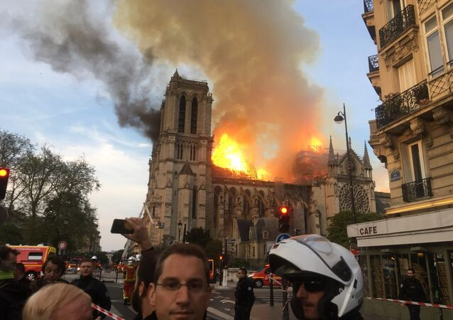 The cathedral of Notre-Dame in Paris in flames.
