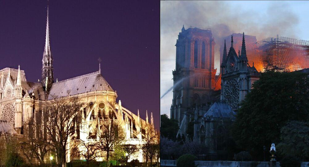 Notre Dame de Paris before and during the April 15, 2019, fire