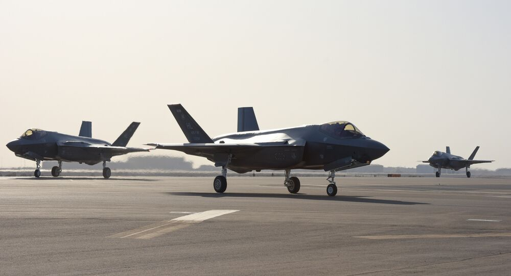 Three F-35A Lightning IIs assigned to the 4th Expeditionary Fighter Squadron taxi after landing at Al Dhafra Air Base, United Arab Emirates, April 15, 2019. The F-35A Lightning II is deployed to the U.S. Air Forces Central Command area of responsibility for the first time in U.S. Air Force history.