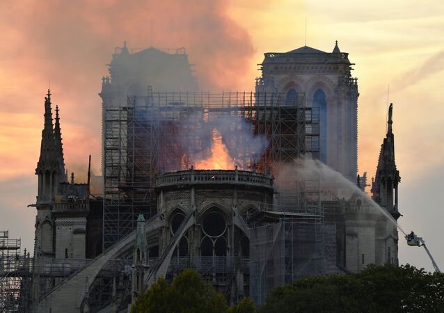 Notre Dame Cathedral engulfed in flames. Paris, France on 15 April, 2019