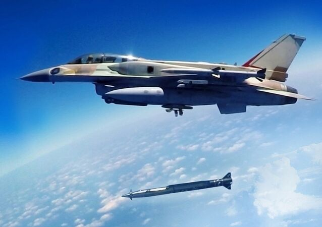 A Rampage supersonic stand-off air-to-surface missile being launched from an F-16 multirole combat aircraft