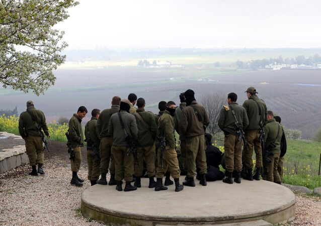 Israeli soldiers stand together at a lookout point near the ceasefire line between Israel and Syria in the Israeli-occupied Golan Heights, 25 March, 2019