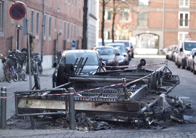 Remains after a fire are seen on Blaagaardsgade, in Copenhagen, Denmark April 15, 2019