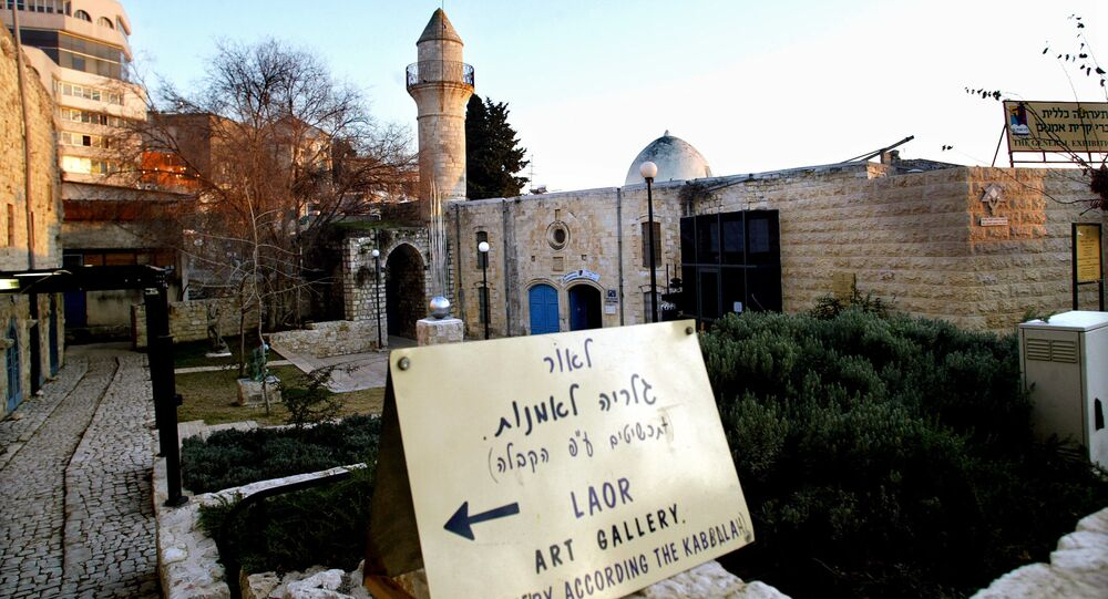 A general view taken 11 January 2005 shows a Palestinian mosque which was turned into an art gallery by Orthodox Jews in the Galilee town of Safed where the newly elected Palestinian president, Mahmud Abbas, was born in1935